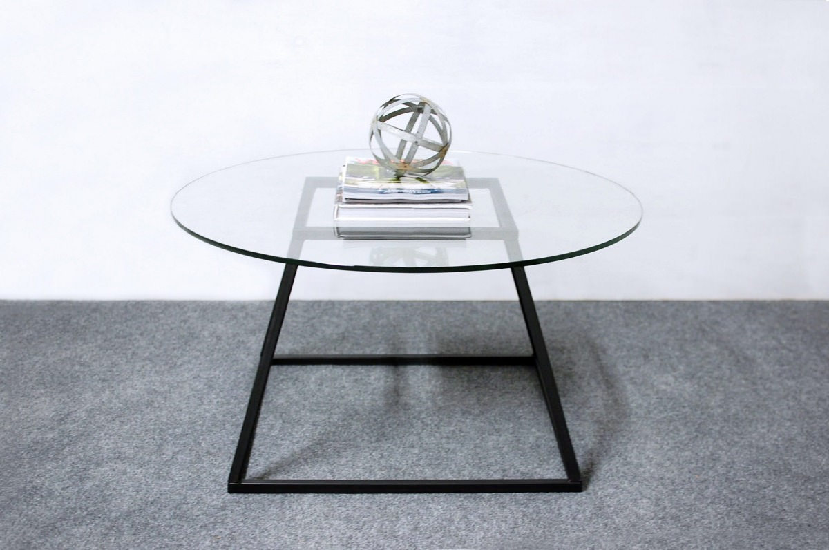 Round Glass Coffee Table With Modern Base Southern Sunshine