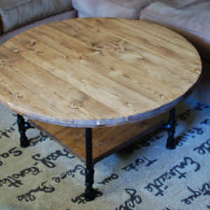 Round Industrial Coffee Table with Shelf