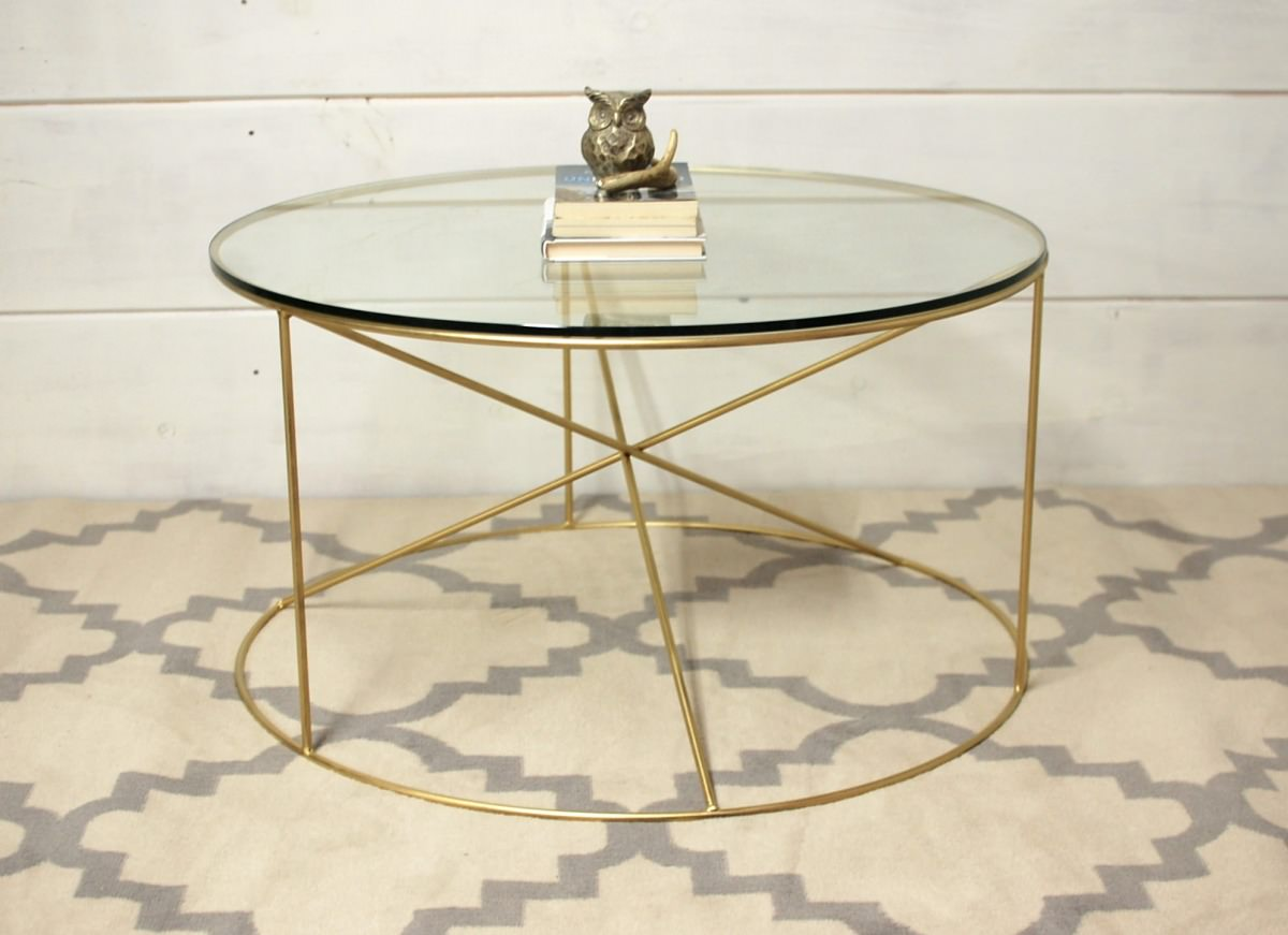 Calypso round metal glass coffee table southern sunshine Metal and glass coffee table