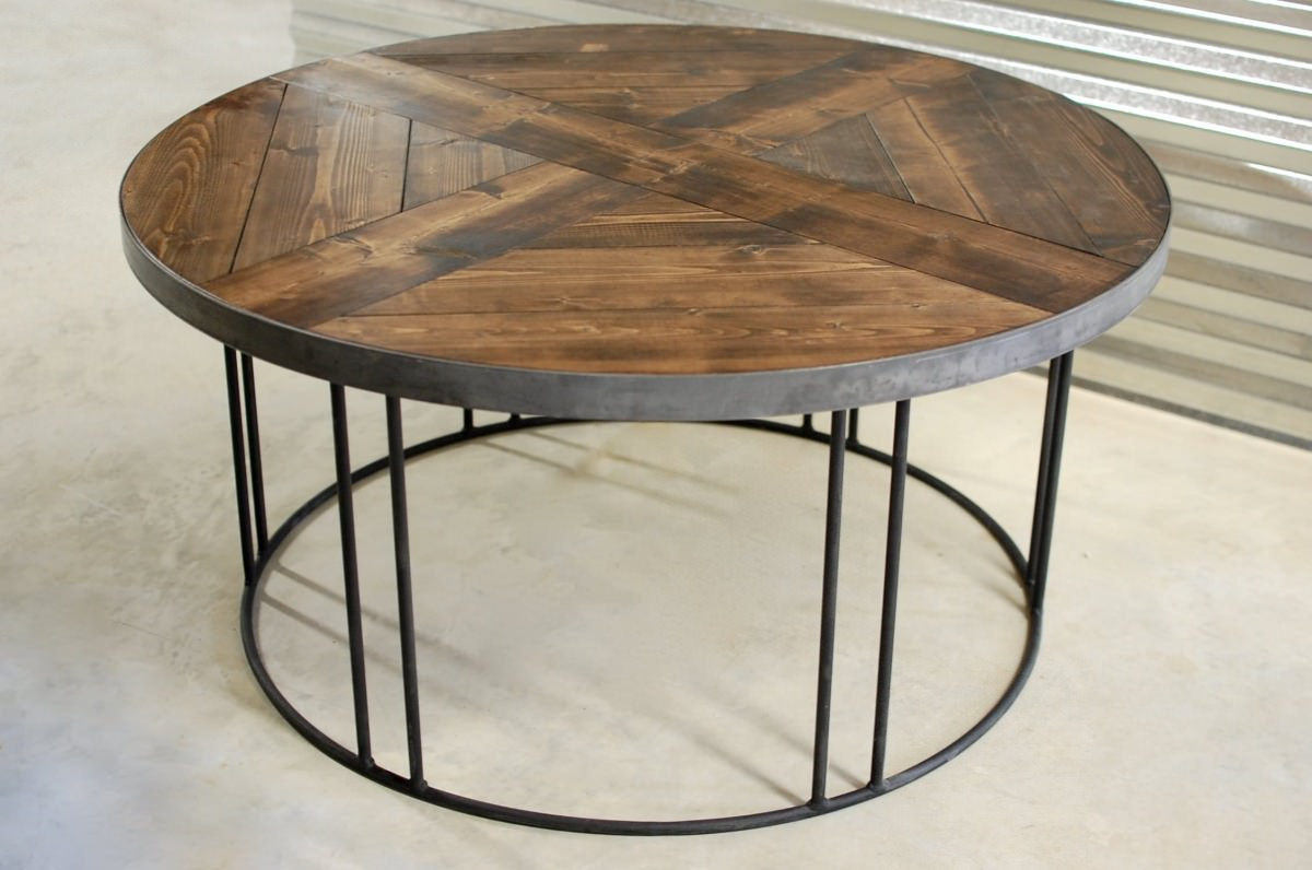 Legend Round Wood Industrial Coffee Table • Southern Sunshine