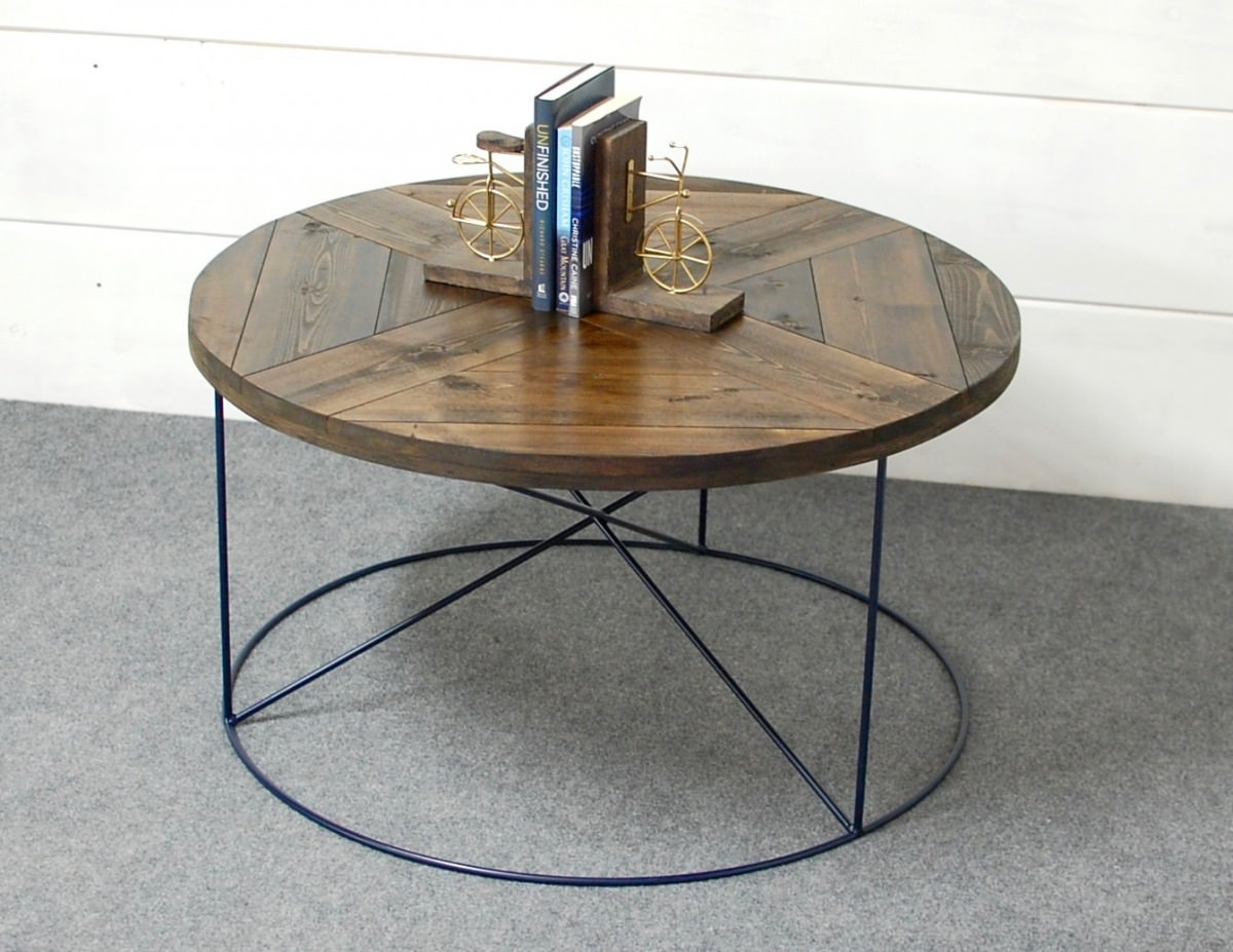 Calypso Wood Round Modern Coffee Table Southern Sunshine