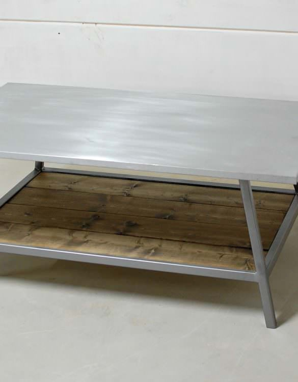 Chesapeake Zinc Wood Shelf Coffee Table