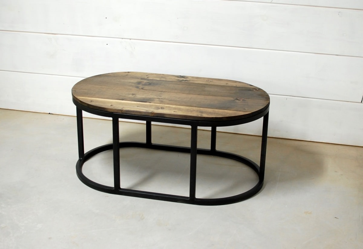 Grace Oval Wood Industrial Coffee Table Southern Sunshine