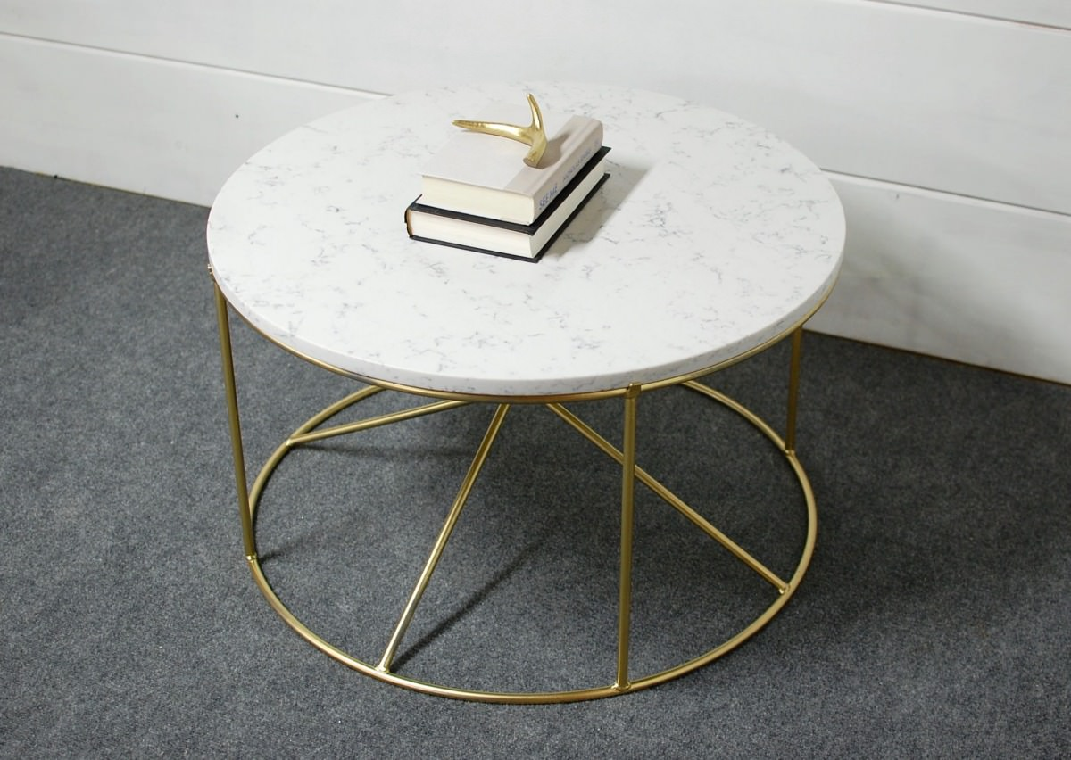 White Marble Table : Calypso round white marble coffee table southern sunshine
