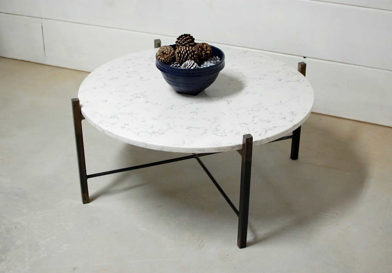 Ashford Modern Round Marble Coffee Table Southern Sunshine