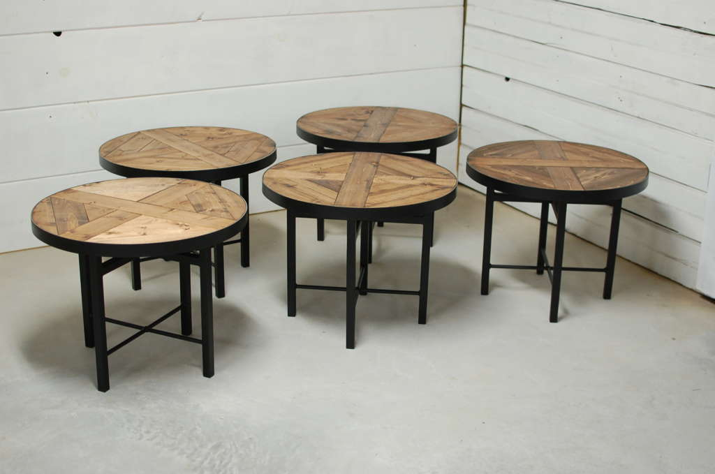 Wellington Round Industrial Wood Coffee Table O Southern