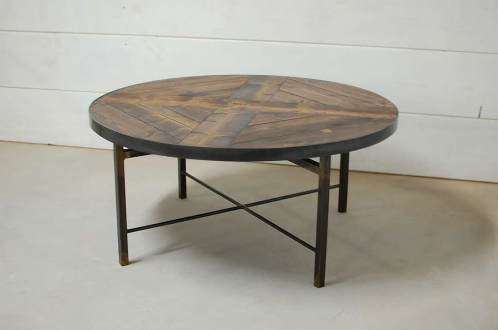 Wellington Round Industrial Wood Coffee Table Southern Sunshine