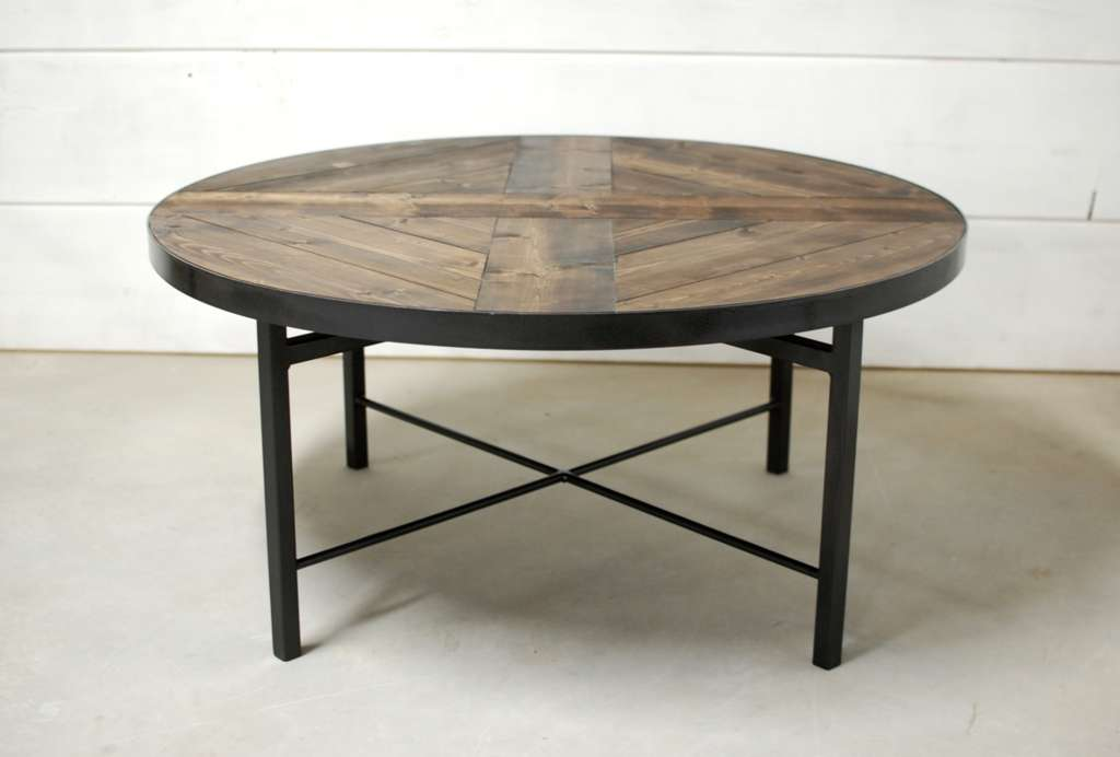 Wellington round industrial wood coffee table southern for Coffee tables industrial