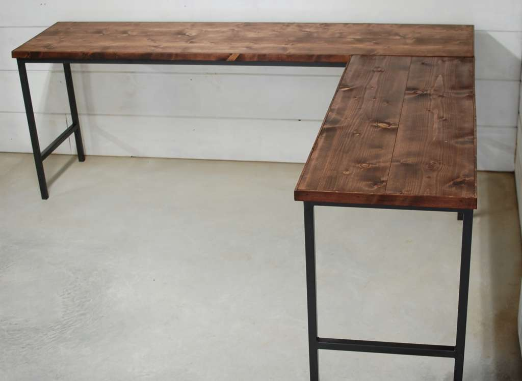 Dakota L Shaped Industrial Wood Desk Southern Sunshine