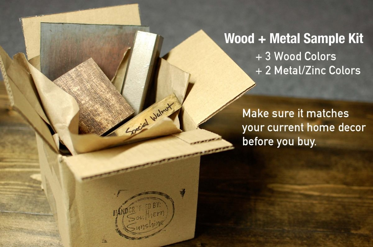 Custom Furniture Design, Wood Samples and Patina Finishes