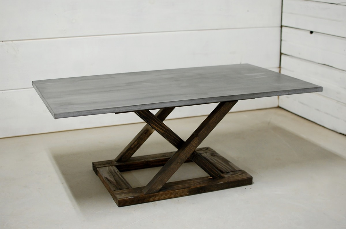 Lexington Wood Zinc Coffee Table Southern Sunshine