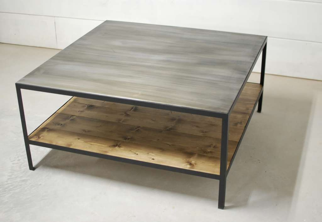 Bourbon industrial zinc two tier coffee table southern for Coffee tables industrial
