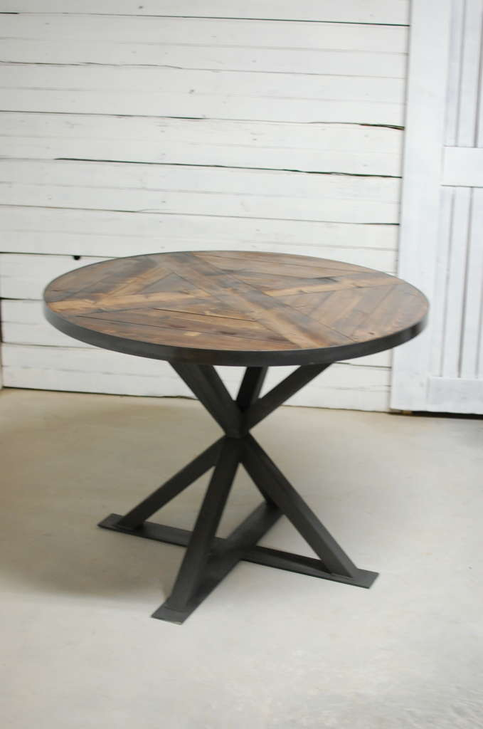 Kensington Round Industrial Pedestal Dining Table