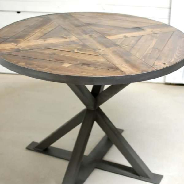 Kensington Round Industrial Modern Dining Table