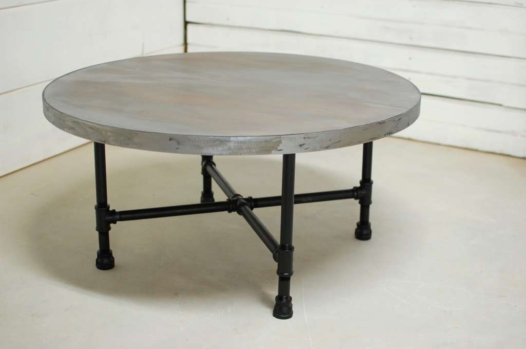 Round Zinc Industrial Pipe Coffee Table Southern Sunshine
