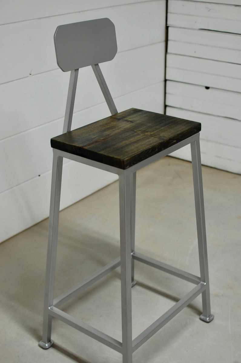 Bryce Industrial Wood Bar Stool Southern Sunshine