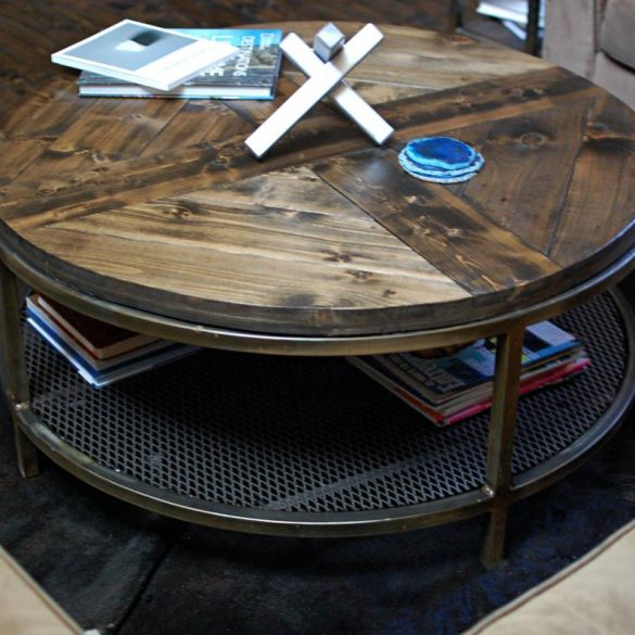 Round Calloway Two Tier Industrial Coffee Table