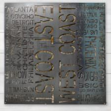 East + West Coast Typography Wall Art