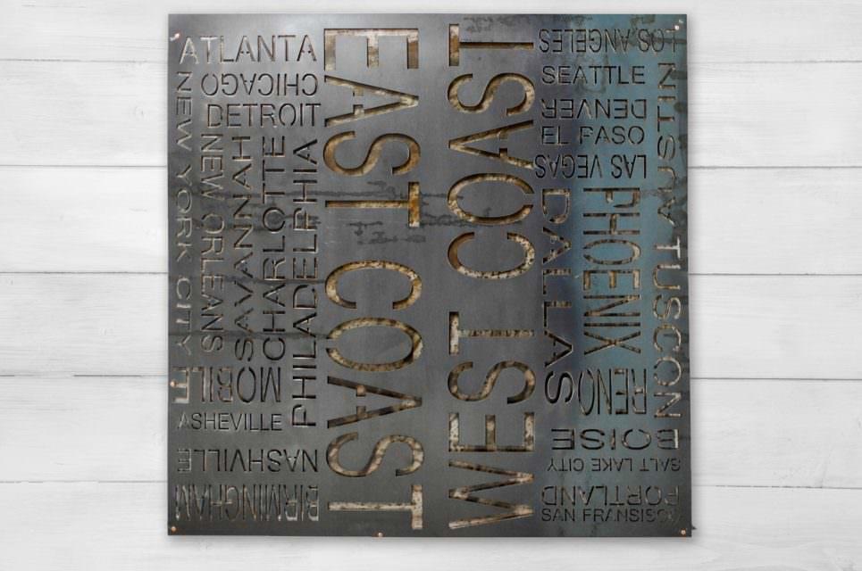 East + West Coast Typography Wall Art