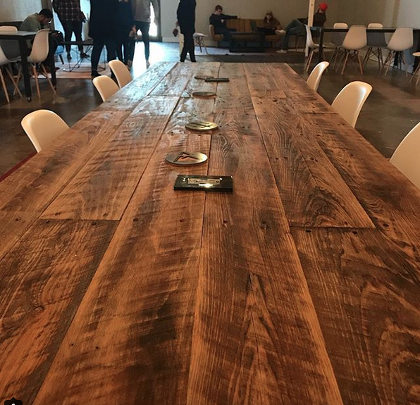 Suffolk Simplicity Reclaimed Wood Square Industrial Coffee: Ezekiel Wood Table • Southern Sunshine