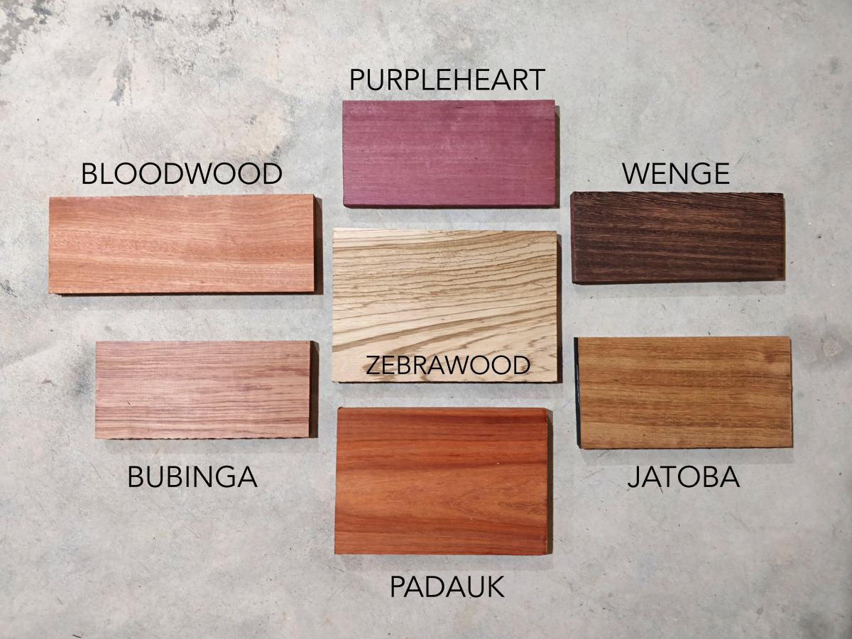 Exotic wood samples